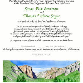 Wedding Certificate with Yosemite National Park