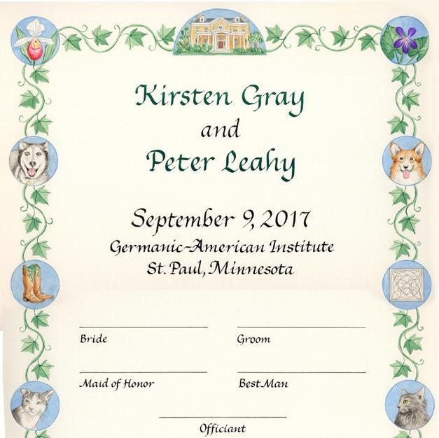 Wedding Certificate with cats, corgi, and husky