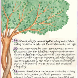 Wedding Vows with entwined trees