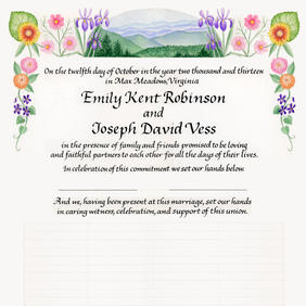 Wedding Certificate with iris, cosmos, gerbera daisy, violets, and lavender