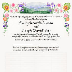 Wedding Certificate with the Blue Ridge Mountains and flowers