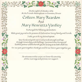 Wedding Certificate with Tudor roses, thistles, shamrocks