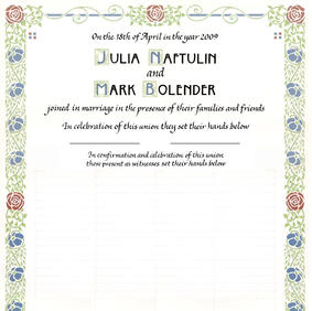 Arts & Crafts Wedding Certificate with authentic colors