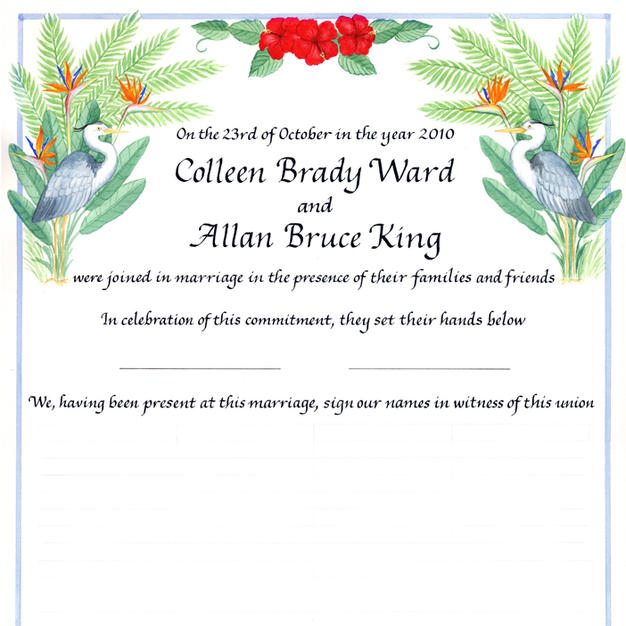 Tropical Wedding Certificate with herons