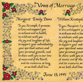 Wedding Vows with Tudor roses and Medieval ivy