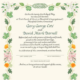 Wedding Certificate with flowers, leaves, and inuksuk