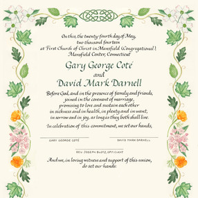 Wedding Certificate with leaves and inuksuk