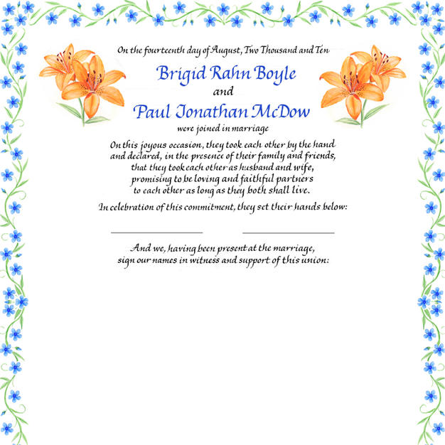 Wedding Certificate with tiger lilies and blue flowers