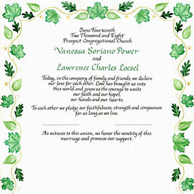 Wedding Certificate with green leaves and mountain