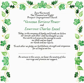 Wedding Certificate with Green Leaves