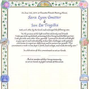 Wedding Certificate with flowers and ivy