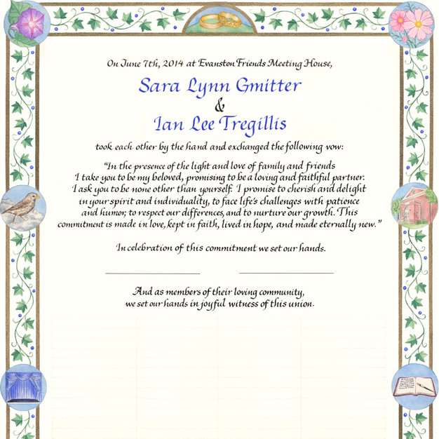 Wedding Certificate with Ivy