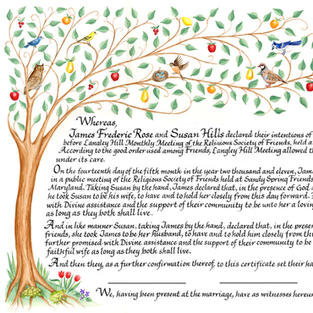 Quaker Wedding Certificate with Tree of Life