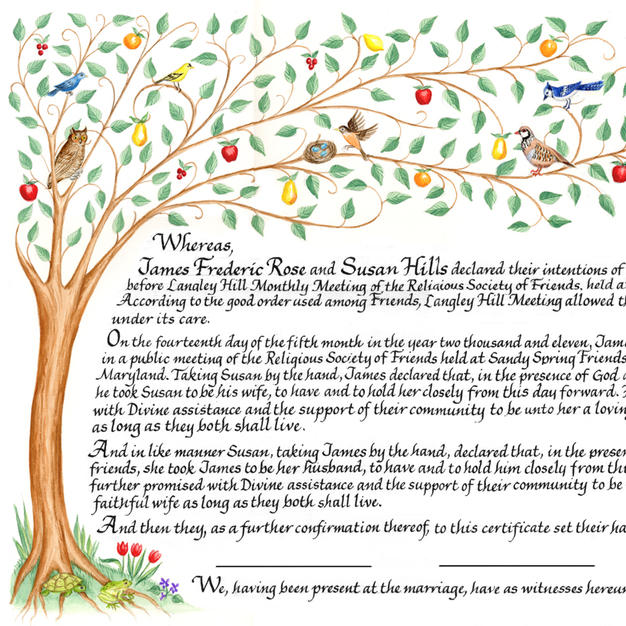 Wedding Certificate with birds and Tree of Life