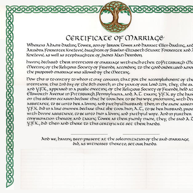 Tree of Life Celtic Knotwork Wedding Certificate