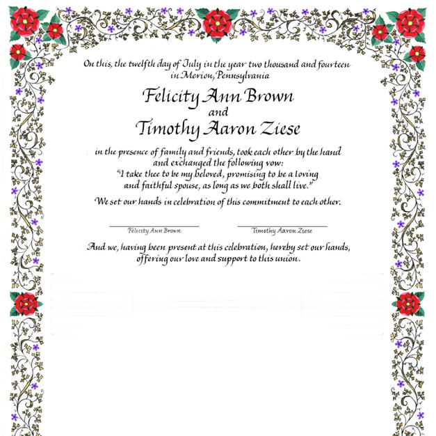 Wedding Certificate with Tudor roses, Medieval ivy, and gilding