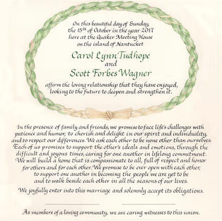 Wedding Certificate with sweetgrass and cyclists