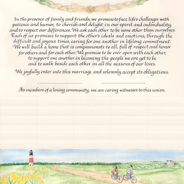 Wedding Certificate with Nantucket Island