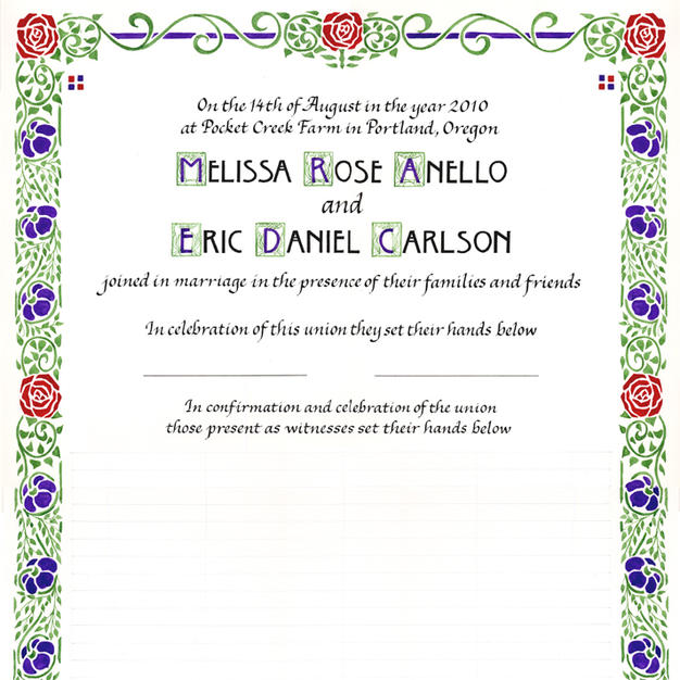 Arts & Crafts style Wedding Certificate