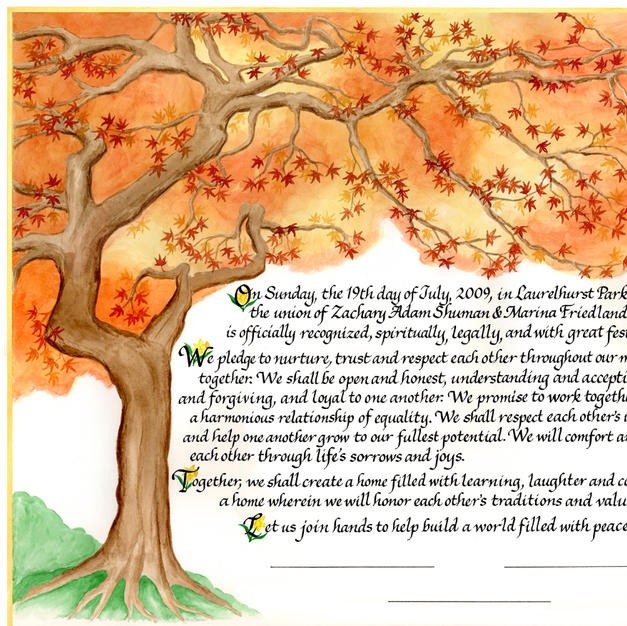 Wedding Certificate with Japanese maple