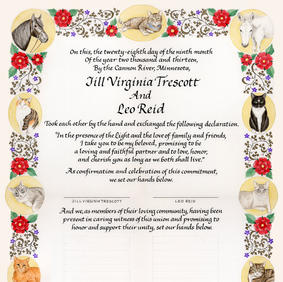 Wedding Certificate with cats and pets