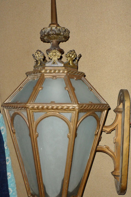 Large Cast Brass Sconce with Frosted Glass