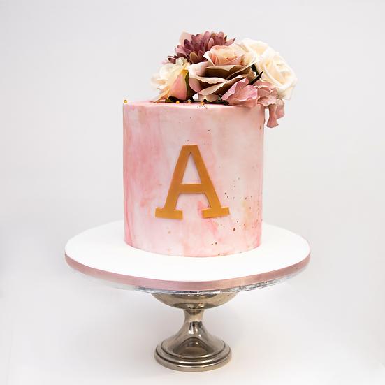 Pink Blush Marble Cake with Monogram