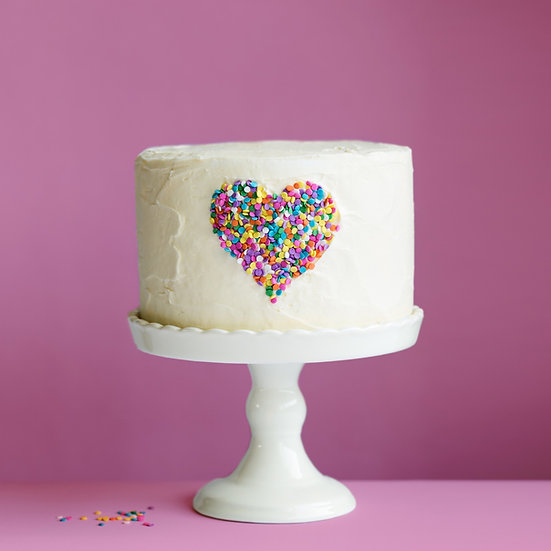 Plain Iced Cake with Sprinkled Heart