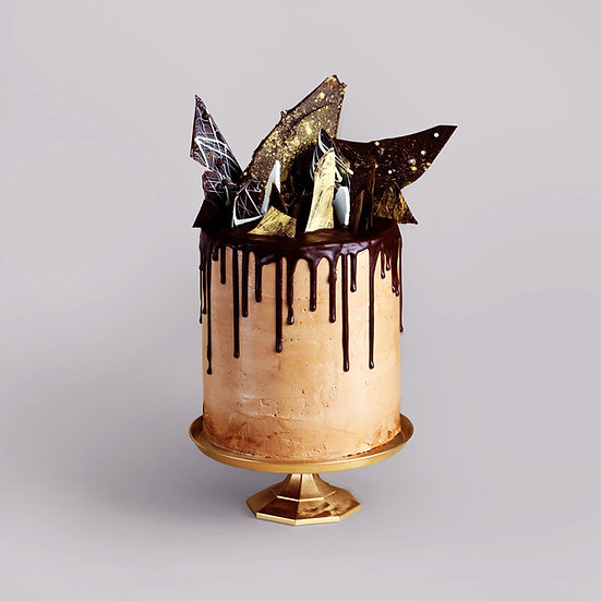 Rustic Gold Drip Cake with Chocolate Shards