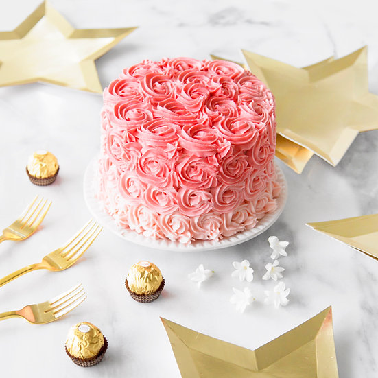 Pink Piped Ombre Buttercream Cake