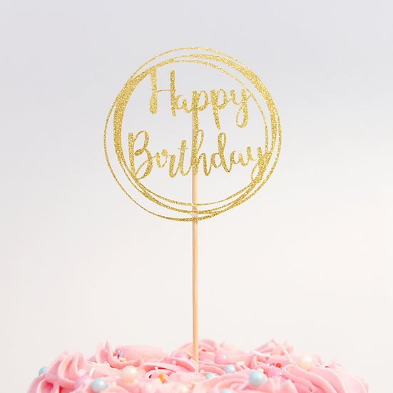 Happy Birthday Card Cake Topper in Circle