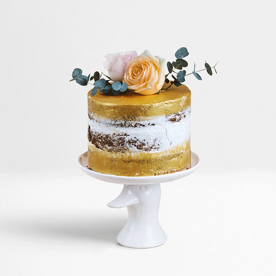 Semi-Naked Gold Cake with Flowers