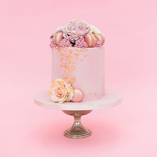 Floral Cake with Macaroons and Edible Gold Leaf