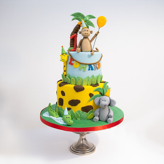 Animals with Party Hats on Jungle Themed Cake