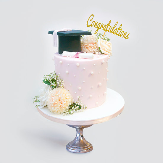 Graduation Cake with a 'Congratulations' Topper