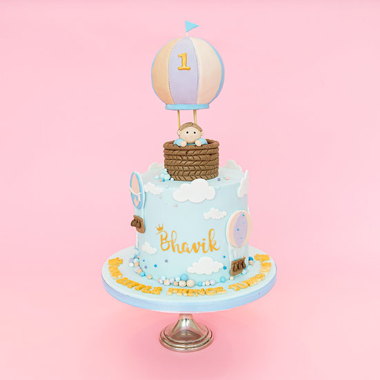 First Birthday Cake with Hot Air Balloon