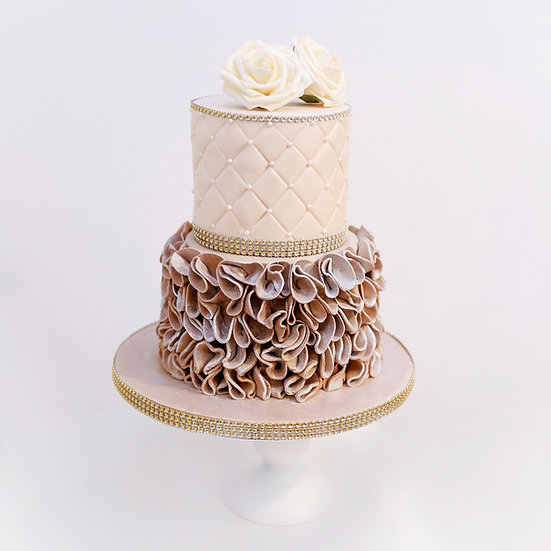 Celebration Cake with Quilted and Ruffled Tiers