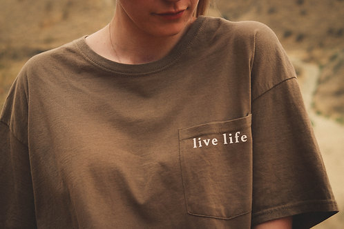 Live Life Like Michael Tan T-shirt With Pocket