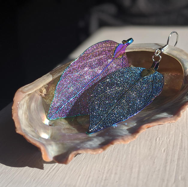Iridescent Leaf Earrings