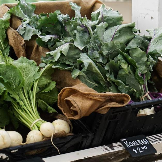 Turnips and Kohlrabi at Farm Stand