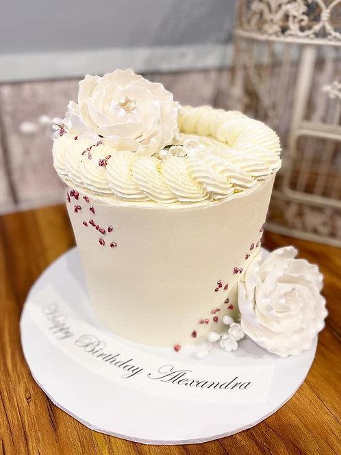 White Chocolate & Raspberry Flower Cake