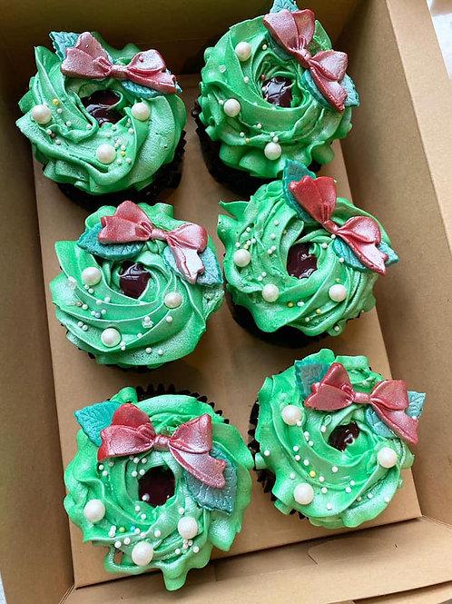 Vegan Christmas Wreath Cupcake Box