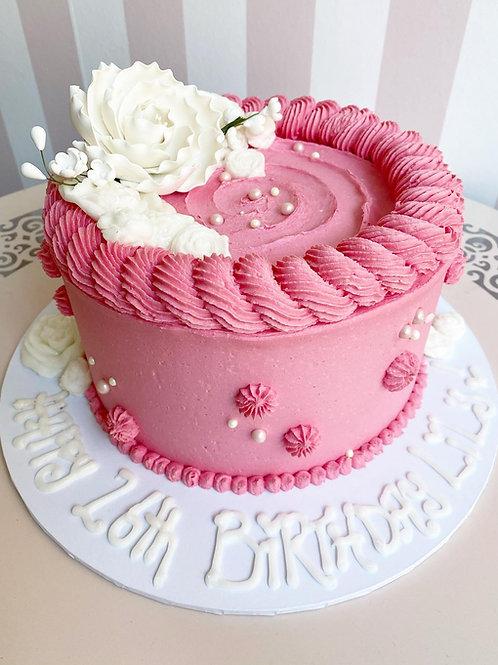 Pink Vanilla Flower Cake