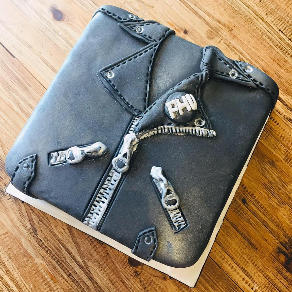 leather jacket cake