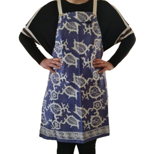 Handgeschilderd Batik Schort (lichtblauw/wit)