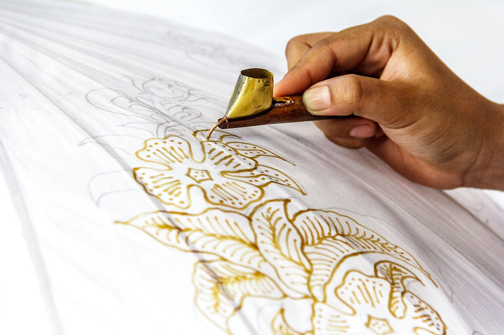 The process of making batik. Batik is a handmade ancient art from Indonesia. Produced by t
