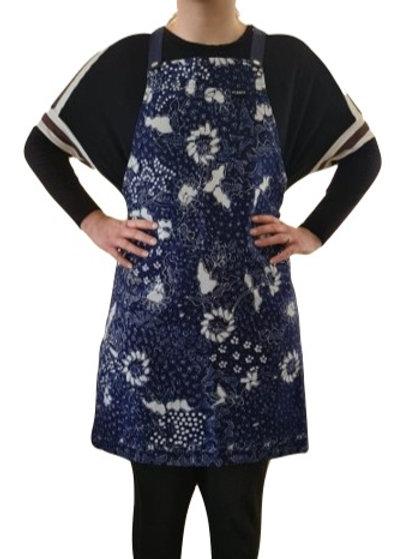 Handgeschilderd Batik Schort (donkerblauw/wit)