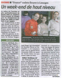 Chpts de France cadets - Limoges