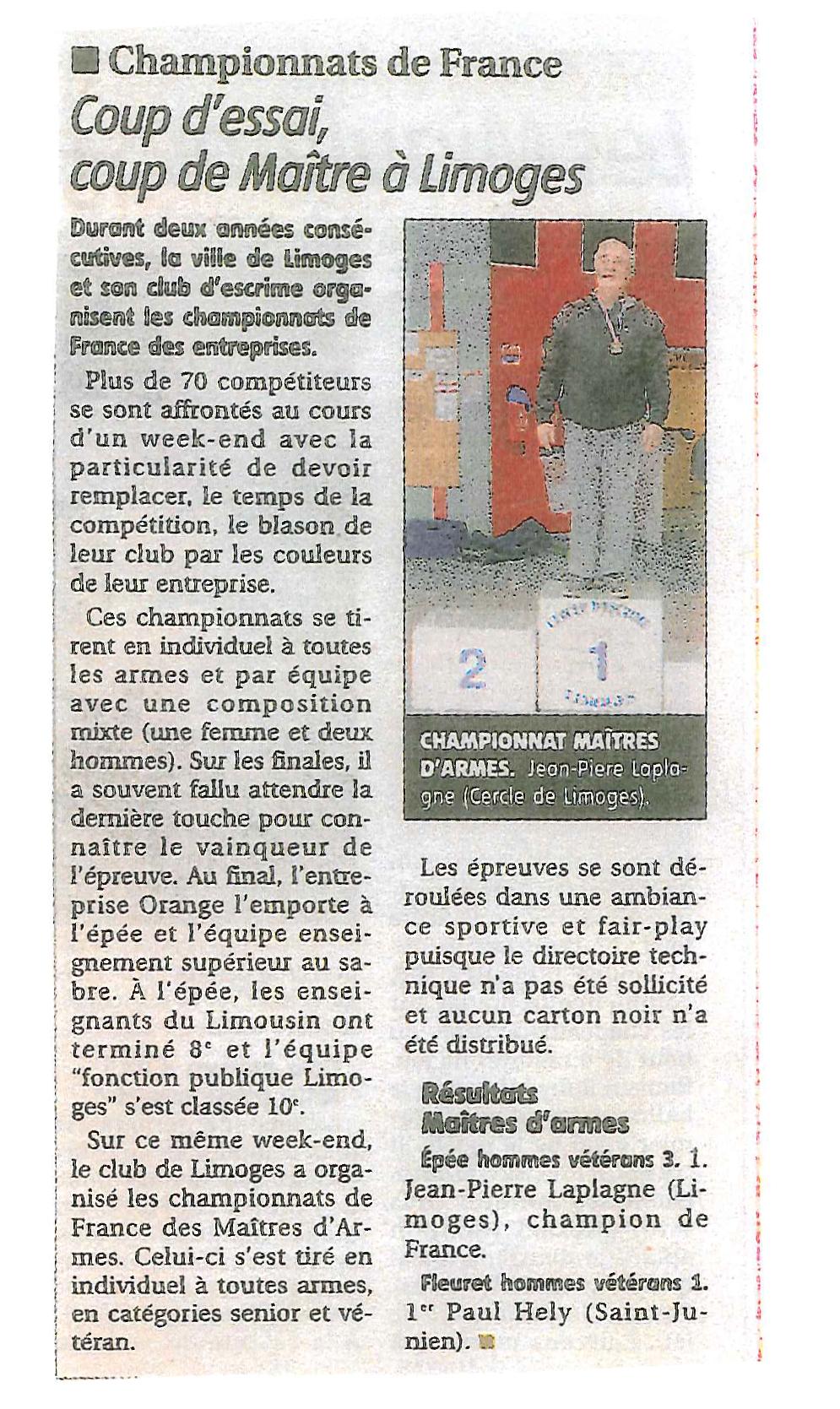Chpts de France Entrep. et M. d'arme