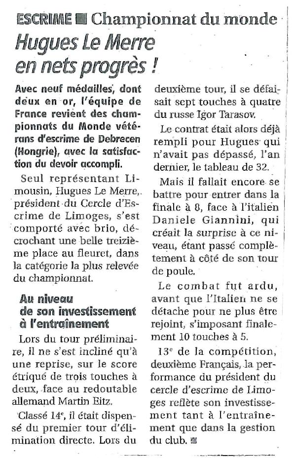 Chpt Monde Vétérans 2014